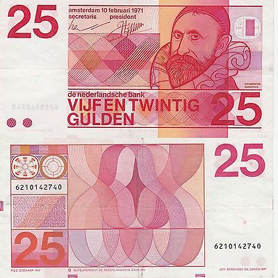 Netherlands 25 Gulden Banknote 1971 Nice Very Fine Condition Cat#92-A-2740