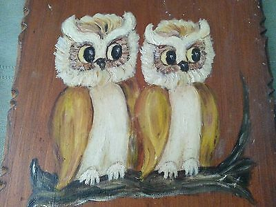 Vintage hand painted pair of owls on wood branch  wooden plaque