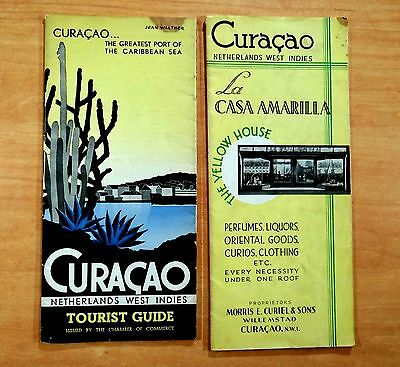 CURACAO Netherlands West Indies Brochures ROYAL DUTCH AIRLINES Hato Airport 1934