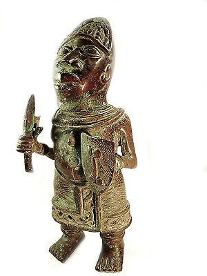 Mega Rare African Tribal Antique Benin Cast Bronze Warrior Figure
