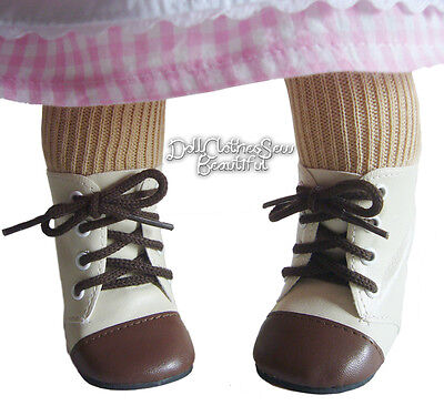 Beige/Brown 2 Tone Boots fits American Girl Kirsten Addy Josefina Doll Clothes