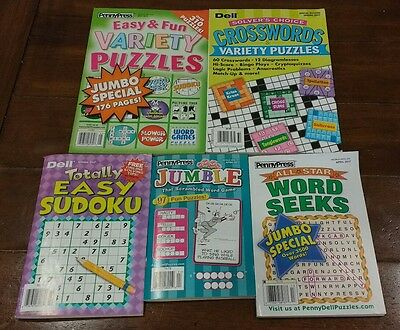 Lot of 5 NEW Puzzle Books WORD SEARCH SODOKU JUMBLE CROSSWORD PENNY PRESS DELL