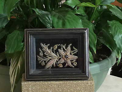 Vintage India Zari Beaded & Embroidered Silk Velvet ACEO in Shadowbox Frame