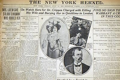 1910 New York Herald Front Page - On Watch For Dr. Crippen For Wife's Murder