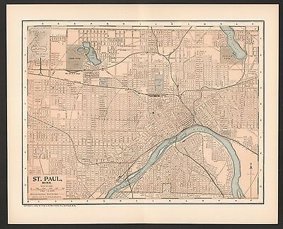 Vintage Street Map 1903 CITY OF ST. PAUL, MN Color Lithographic Bookplate