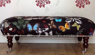 A Quality Long Footstool In Designers Guild Butterfly Parade Fabric