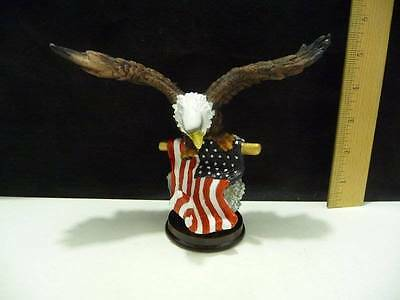 """Eagle With The American Flag Figure on Base 5.5"""" Tall x 6.5"""" Wide"""