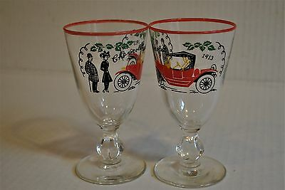 Vintage Glasses with 1913 Chevrolet Image set of two