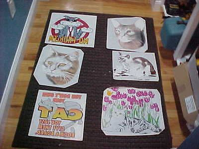 6 Vintage Cat Iron On Decals Funny Cute