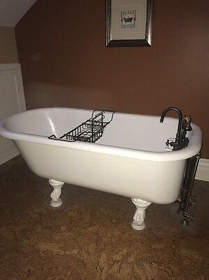 "Antique Vintage 60"" Claw Foot Bathtub (Bath Tub) With Caddy And Faucet Beautiful"