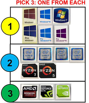 3x Combo: Windows 10 Pro, Intel i7/i5, AMD RYZEN Nvidia Case Badge Sticker PICK3