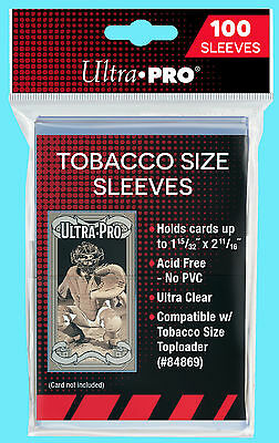 100 ULTRA PRO TOBACCO SIZE SOFT CARD SLEEVES for Toploaders Trading Sport T-206