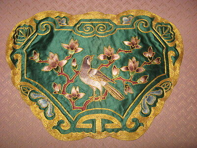Exquisite Vtg Chinese Embroidery Wall Art Doily Bird Lotus Floral Gold Thread
