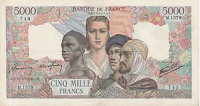 France 5000 Francs Banknote,10.10.1945 Very Fine Condition Cat#103-C