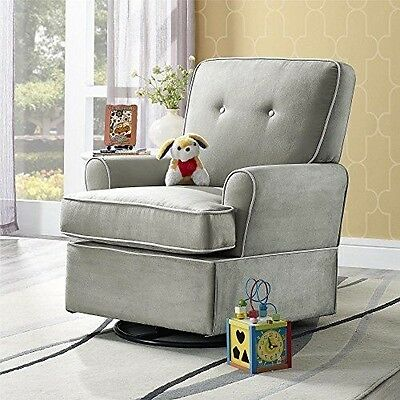 New Chairs Seats Baby Relax The Tinsley Nursery Swivel Glider Chair, Grey