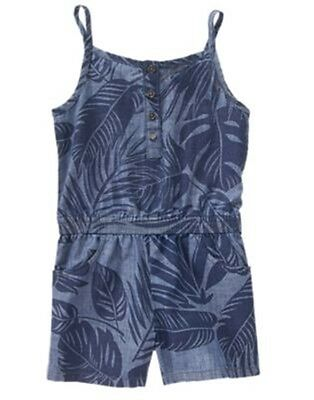NWT 10 Years Crazy 8 TROPICAL POP Blue Palm Leaf Print Chambray 1 pc ROMPER