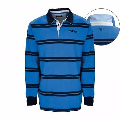 Wrangler Mens CASEY Stripe Rugby Top FREE POSTAGE