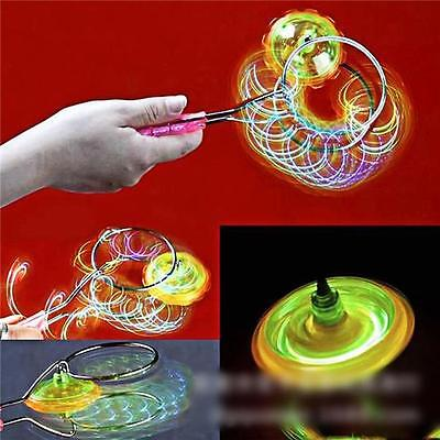 Flashing Light Up Gyro Wheel Top Magnetic Steel Rail Kinetic Science Kids Toy Y