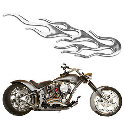 3D Cool Car Auto Motorcycle Silver Flared Fire Sticker Decal Emblem Label Badge