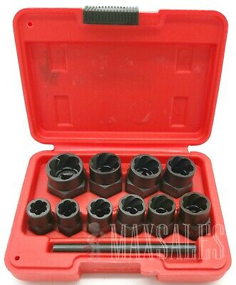New 10Pc Twist Socket Set 4 Damaged Worn Lug Nut and Lock Remover 10mm-19mm