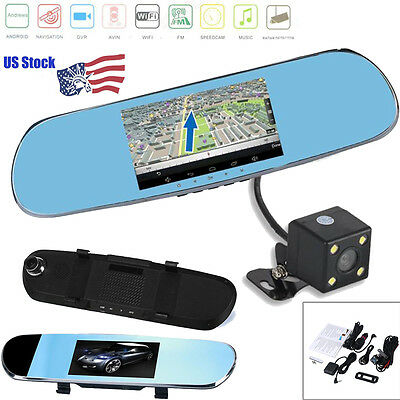 """GPS Navigation 5"""" Quad Core 1080P Android Rear View Mirror WIFI CAR DVR Camera"""