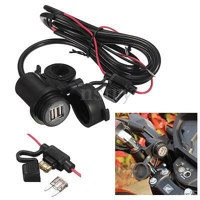 Phone Tablet 5V 2.1A Car Motorcycle Dual USB Power Port Socket Charger For Phone