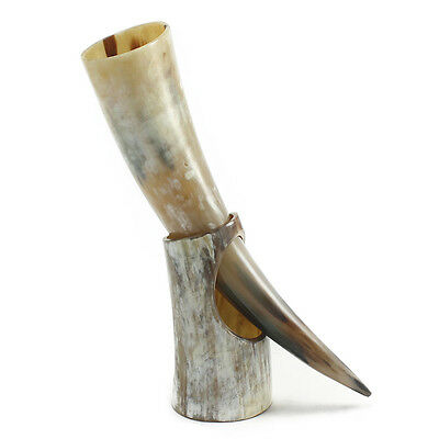 "Medium Polished Drinking Horn with Stand - Perfect for Reenactment (13"" to 16"")"