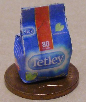 1:12 Scale Single Tetley Tea Bag Packet Dolls House Miniature Kitchen Accessory