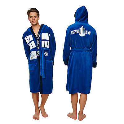 Groovy Mens Doctor Who Tardis Dressing Gown New Adults Fleece Hooded Bathrobe
