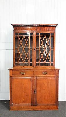 Antique Victorian glazed double cupboard bookcase / display cabinet
