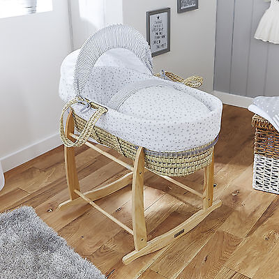 New 4Baby Sweet Little Stars Grey Palm Baby Moses Basket & Deluxe Rocking Stand