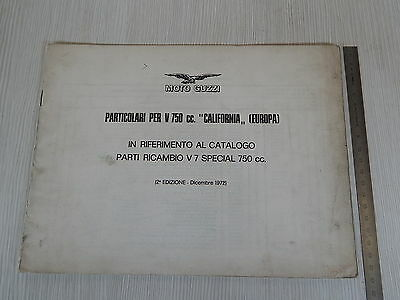Supplemento Al Catalogo Parti Di Ricambio 1972 Moto Guzzi V750 California 750