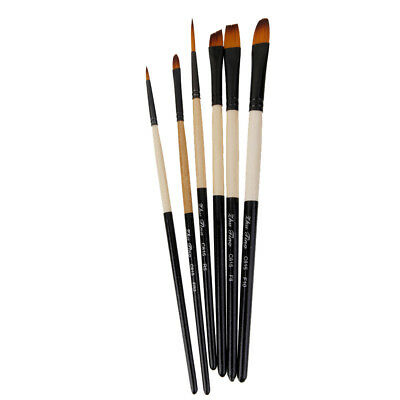 Pro 6 Nylon Hair Acrylic Watercolor Pointed Tip Artists Oil Paint Brush C815