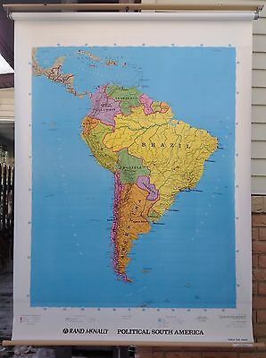 Roll-up Rand McNally Political Map of South America