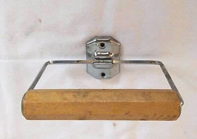 Vintage Toilet Paper Tissue Holder Octagonal Wood Roller Old Deco Bath 41-17J