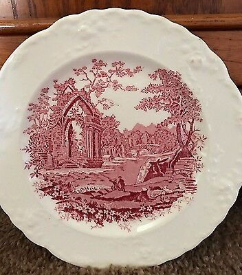 "2 Vintage 1940s Taylor and Smith English Abbey Red Transferware 7"" Dessert Plate"