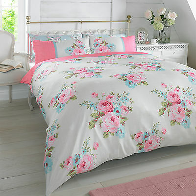 Rosie Floral Pink Flower Bedding Duvet Cover And 2 Pillowcases Set Double Bed