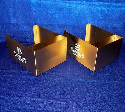 2 Dewar's Scotch Brass Finish Metal  Bar Caddy Swizzle Stick Napkin Holder - New