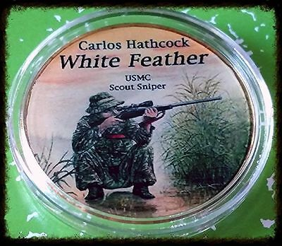 Usmc Sniper Carlos Hathcock White Feather #fch02 Colorized Art Round