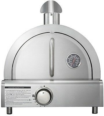 Stainless Steel Portable Pizza Oven Propane Gas Electric Ignition 12,000 BTU