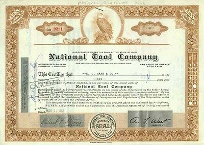 Stock Certificate - 1959 - National Tool Company