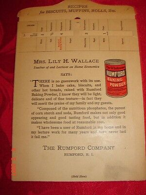 RUMFORD - Mrs. Lily H Wallace - Recipes for Biscuits, Muffins, Rolls - Sliding