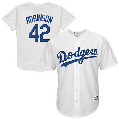 Jackie Robinson Dodgers White Cooperstown Cool Base Jersey Youth Large 14/16