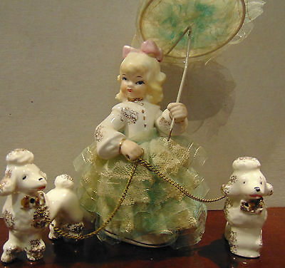 Vintage Porcelain Lady with umbrella walking 2 Poodles (post war Japan)