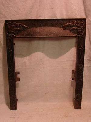 Antique Late 1800's Cast Iron Ornate Fireplace Insert Cover Frame...floral