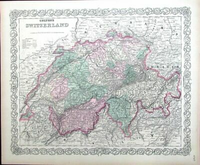 Switzerland Austria Germany Alps Tyrol Geneva 1873 antique folio Colton map