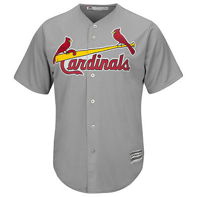 St Louis Cardinals Blank Gray Cool Base Majestic Road Jersey Medium 10/12 D331
