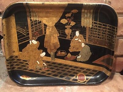 Antique BLACK LACQUER Paper Mache Tray Japan TEA SCENE Gold Chinois Decoration