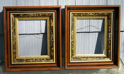 Pair Eastlake Deep Walnut Carved Tortoise Patterned Gilt Picture Frames 8 x 10