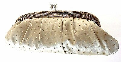 Carlo Fellini Taupe Beaded/satin Evening Clutch With Short & Long Gold Chain
